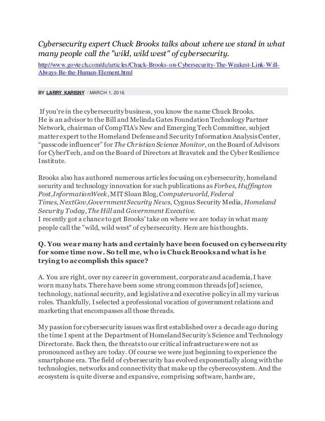 Chuck Brooks Cybersecurity Homeland Security Leadership
