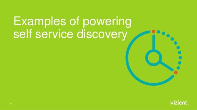 Examples of powering self service discovery 11