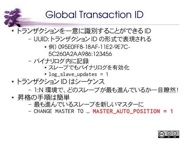 Global Transaction ID  ● トランザクションを一意に識別することができるID  – UUID: トランザクションID の形式で表現される  ● 例) 095E0FF818AF11E29E7C5C260A2AA986...