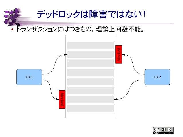 デッドロックは障害ではない!  ● トランザクションにはつきもの。理論上回避不能。  TX1 TX2  blocked  blocked