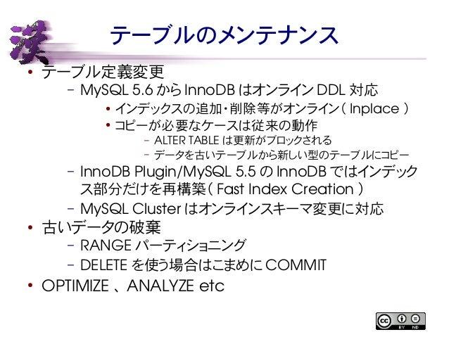 テーブルのメンテナンス  ● テーブル定義変更  – MySQL 5.6 からInnoDB はオンラインDDL対応  ● インデックスの追加・削除等がオンライン( Inplace )  ● コピーが必要なケースは従来の動作  – ALTER T...