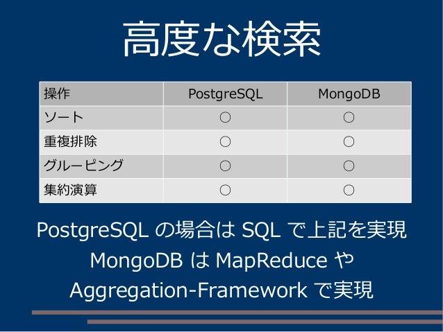 高度な検索 操作 PostgreSQL MongoDB ソート ○ ○ 重複排除 ○ ○ グルーピング ○ ○ 集約演算 ○ ○ PostgreSQL の場合は SQL で上記を実現 MongoDB は MapReduce や Aggregat...