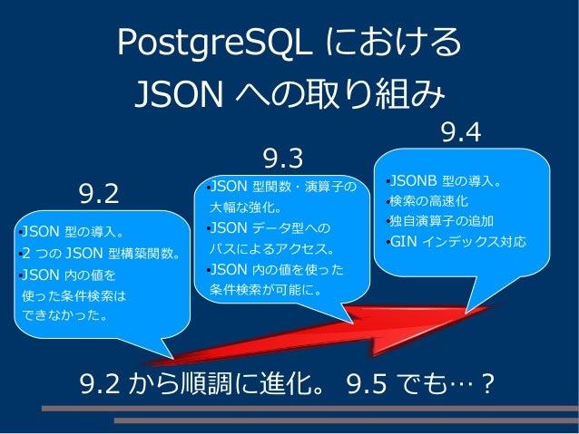 PostgreSQL における JSON への取り組み 9.2 から順調に進化。 9.5 でも…? ●JSON 型の導入。 ●2 つの JSON 型構築関数。 ●JSON 内の値を 使った条件検索は できなかった。 ●JSON 型関数・演算子の...