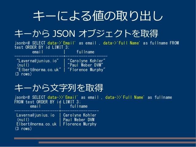 キーによる値の取り出し キーから JSON オブジェクトを取得 jsonb=# SELECT data->'Email' as email , data->'Full Name' as fullname FROM test ORDER BY i...