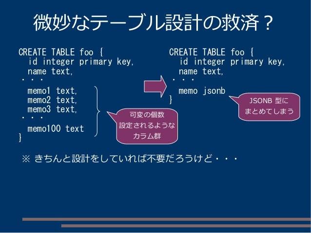微妙なテーブル設計の救済? CREATE TABLE foo { id integer primary key, name text, ・・・ memo1 text, memo2 text, memo3 text, ・・・ memo100 te...