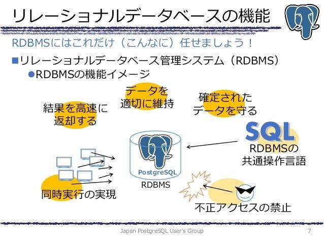 リレーショナルデータベースの機能 リレーショナルデータベース管理システム(RDBMS) RDBMSの機能イメージ Japan PostgreSQL User's Group 7 RDBMSにはこれだけ(こんなに)任せましょう! RDBMS ...