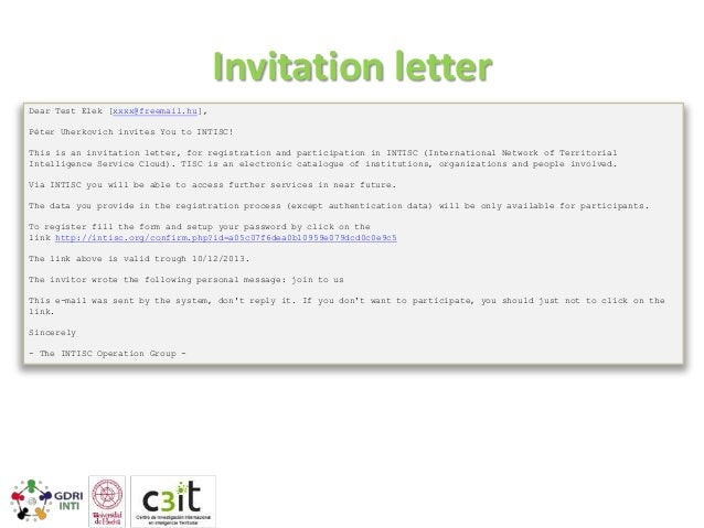 Password letter Dear Test Elek, You have successfully registered in the INTISC (International Network of Territorial Intel...