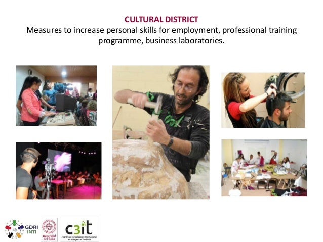CULTURAL DISTRICT Measures to increase personal skills for employment, professional training programme, business laborator...