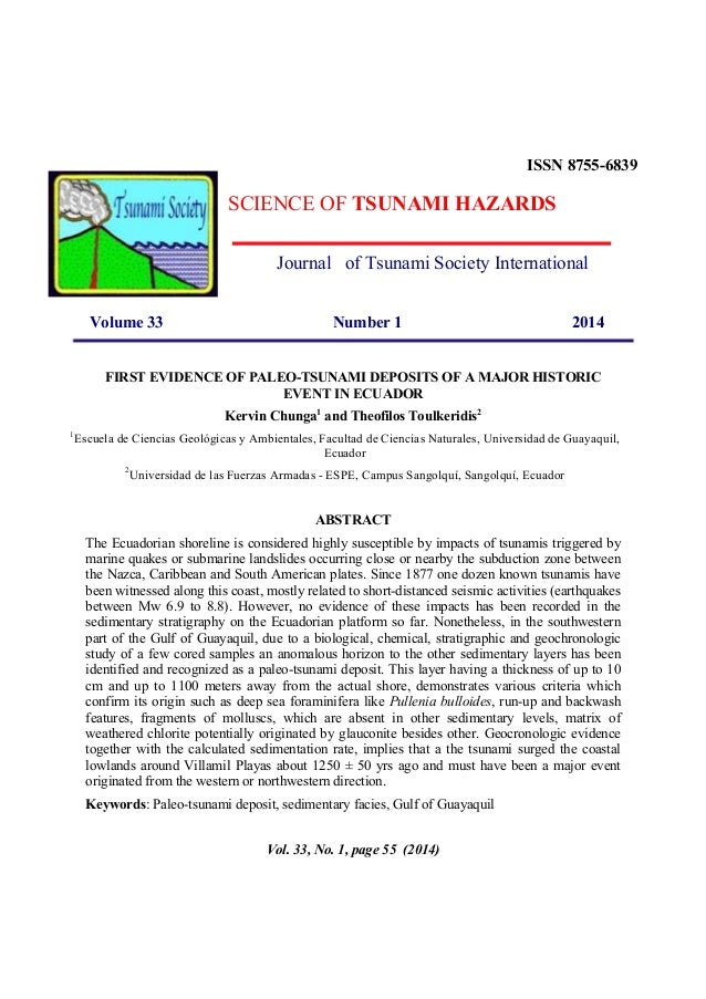 ISSN 8755-6839  SCIENCE OF TSUNAMI HAZARDS Journal of Tsunami Society International Volume 33  Number 1  2014  FIRST EVIDE...