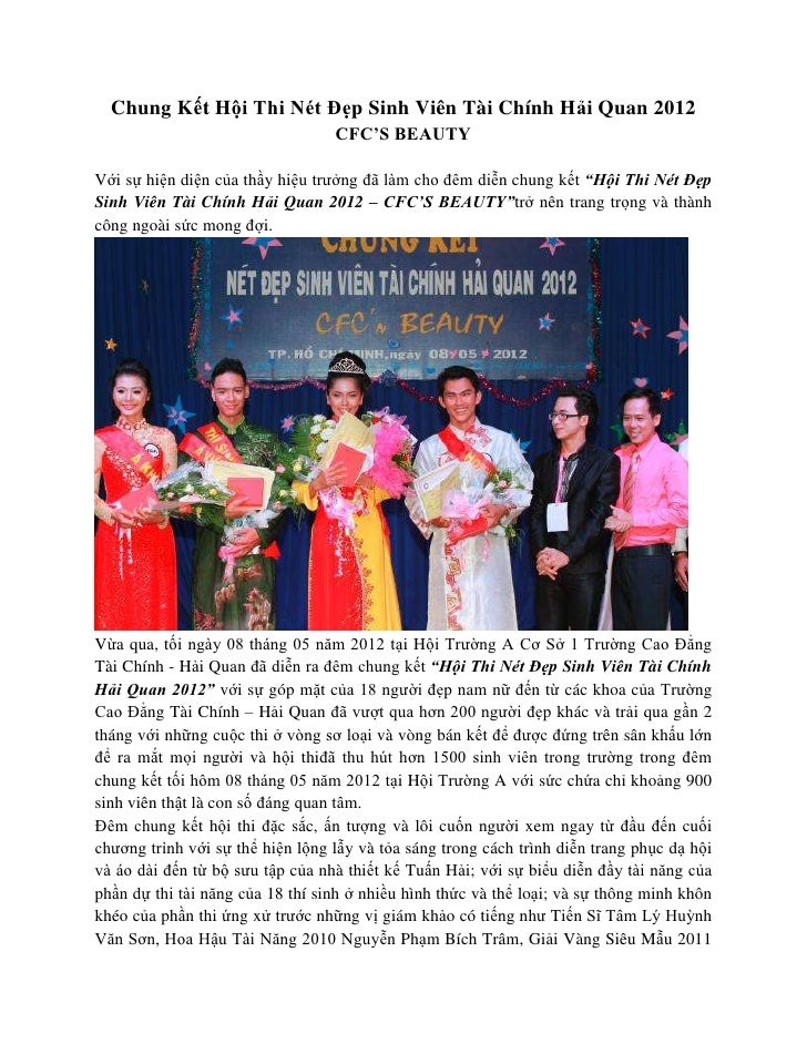 Chung Kết Hội Thi Nét Đẹp Sinh Viên Tài Chính Hải Quan 2012                                  CFC'S BEAUTYVới sự hiện diện ...