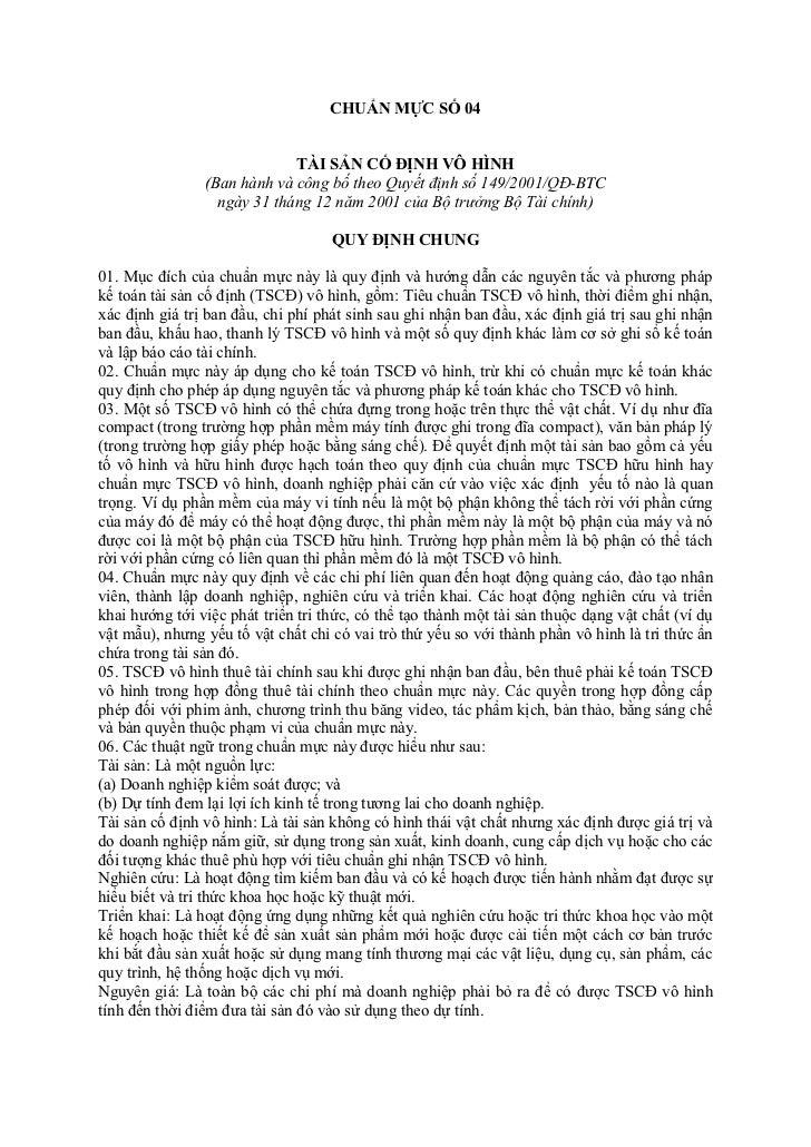 CHUẨN MỰC SỐ 04                             TÀI SẢN CỐ ĐỊNH VÔ HÌNH                (Ban hành và công bố theo Quyết định số...