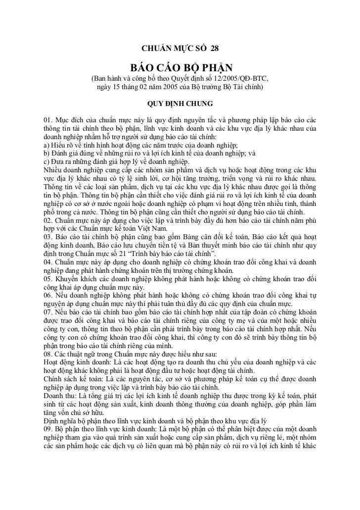CHUẨN MỰC SỐ 28                             BÁO CÁO BỘ PHẬN                (Ban hành và công bố theo Quyết định số 12/2005...