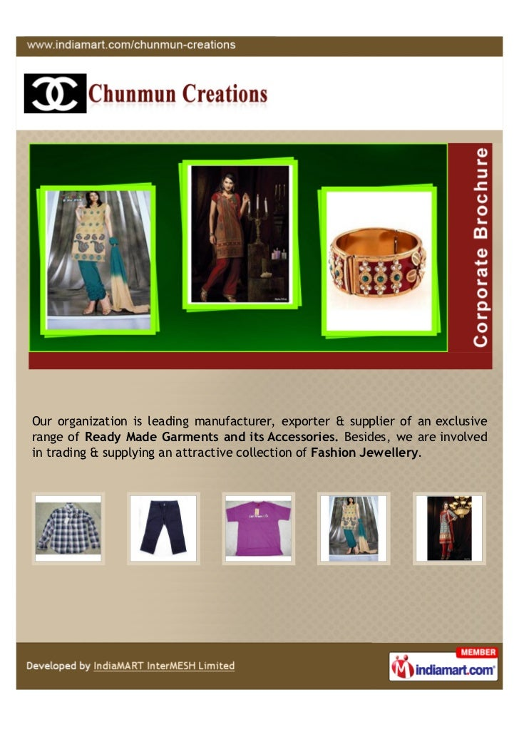 Our organization is leading manufacturer, exporter & supplier of an exclusiverange of Ready Made Garments and its Accessor...