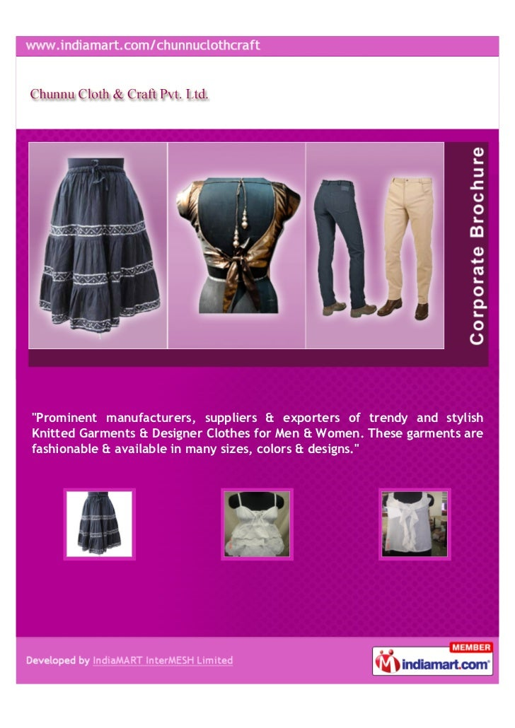 """""""Prominent manufacturers, suppliers & exporters of trendy and stylishKnitted Garments & Designer Clothes for Men & Women. ..."""