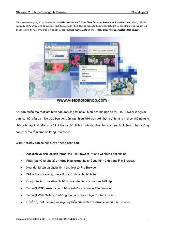Chương 2: Cách sử dụng File Browser                                                                                Photosh...