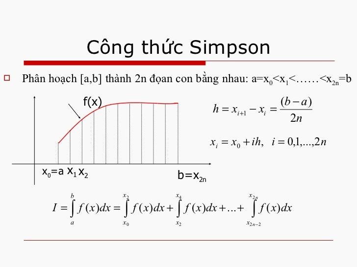 Công thức Simpson <ul><li>Phân hoạch [a,b] thành 2n đọan con bằng nhau: a=x 0 <x 1 <……<x 2n =b </li></ul>x 0 =a b=x 2n f(x...