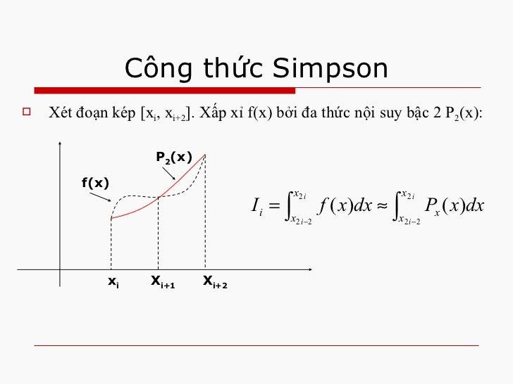Công thức Simpson <ul><li>Xét đoạn kép [x i , x i+2 ]. Xấp xỉ f(x) bởi đa thức nội suy bậc 2 P 2 (x): </li></ul>x i X i+1 ...
