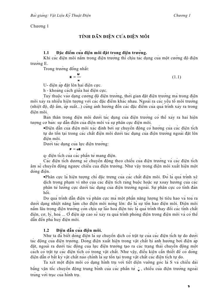 Bài giảng: Vật Liệu Kỹ Thuật Điện                                                    Chương 1Chương 1              ...