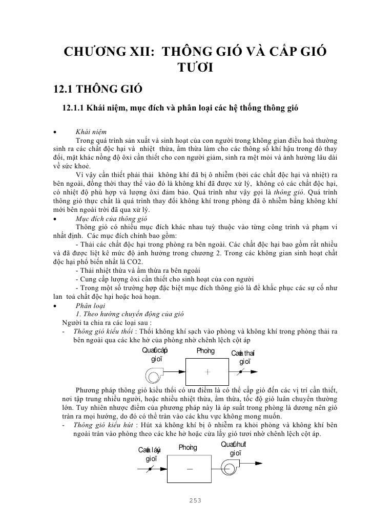 CHƯƠNG XII: THÔNG GIÓ VÀ CẤP GIÓ                  TƯƠI12.1 THÔNG GIÓ    12.1.1 Khái niệm, mục đích và phân loại các hệ thố...