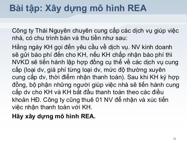 Bài tập: Xây dựng mô hình REA Công ty Thái Nguyên chuyên cung cấp các dịch vụ giúp việc nhà, có chu trình bán và thu tiền ...