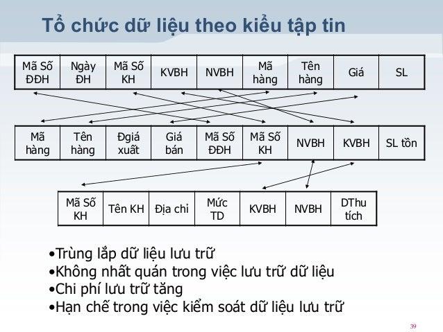 Tổ chức dữ liệu theo kiểu tập tin Mã Số ĐĐH  Ngày ĐH  Mã Số KH  KVBH  NVBH  Mã hàng  Tên hàng  Giá  SL  Mã hàng  Tên hàng ...