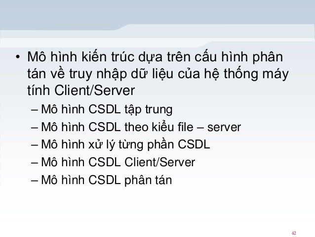 • Mô hình kiến trúc dựa trên cấu hình phân tán về truy nhập dữ liệu của hệ thống máy tính Client/Server – Mô hình CSDL tập...