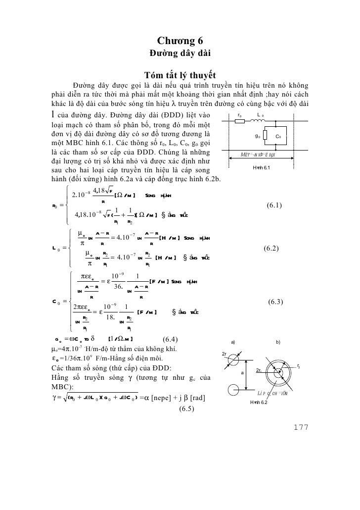 Chương 6                                     Đường dây dài                                   Tóm tắt lý thuyết       Đường...