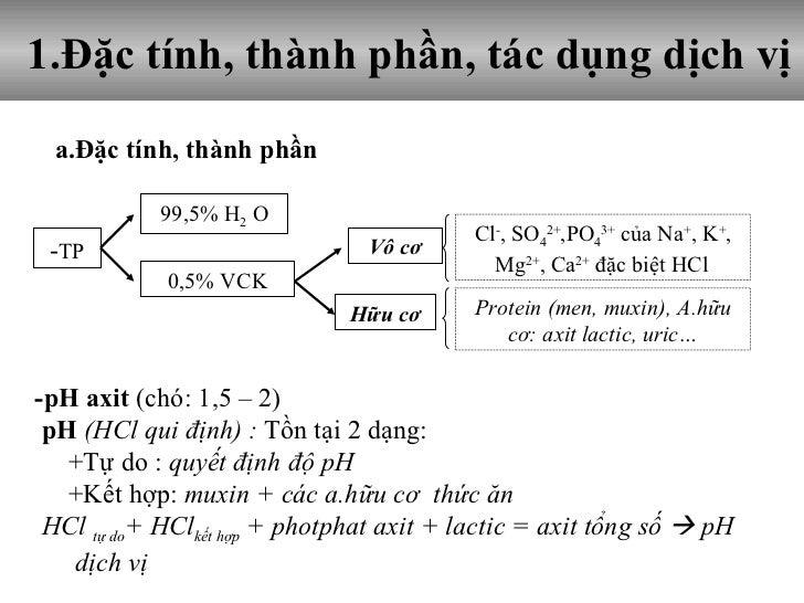1.Đặc tính, thành phần, tác dụng dịch vị a.Đặc tính, thành phần  -pH axit  (chó: 1,5 – 2) pH  (HCl qui định) :  Tồn tại 2 ...