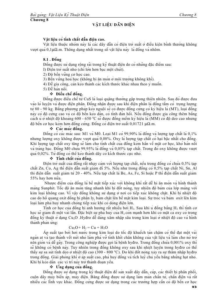 Bài gảng: Vật Liệu Kỹ Thuật Điện                                                              Chương 8Chương 8     ...
