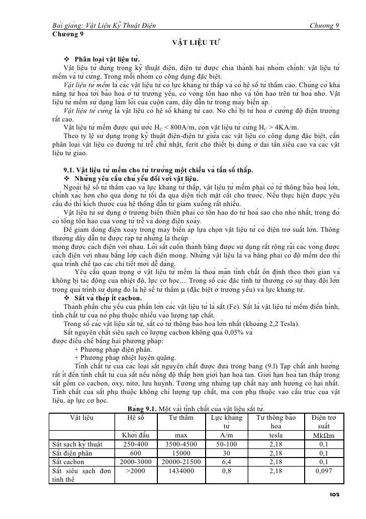 Bài giảng: Vật Liệu Kỹ Thuật Điện                                                                    Chương 9Chương...