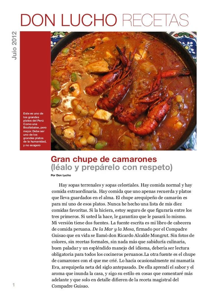 DON LUCHO RECETASJuio 2012            Este es uno de            los grandes            platos del Perú            Como una...
