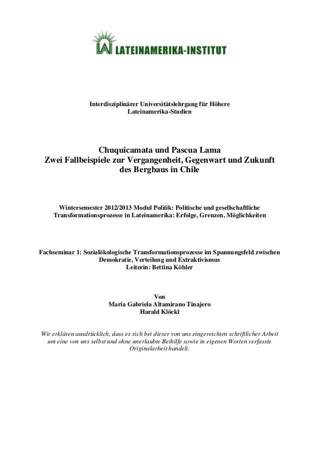 Interdisziplinärer Universitätslehrgang für Höhere Lateinamerika-Studien Chuquicamata und Pascua Lama Zwei Fallbeispiele z...