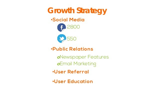Growth Strategy  2800550  •  Social Media  o  Newspaper Features  o  Email Marketing  •  User Referral  •  User Education ...