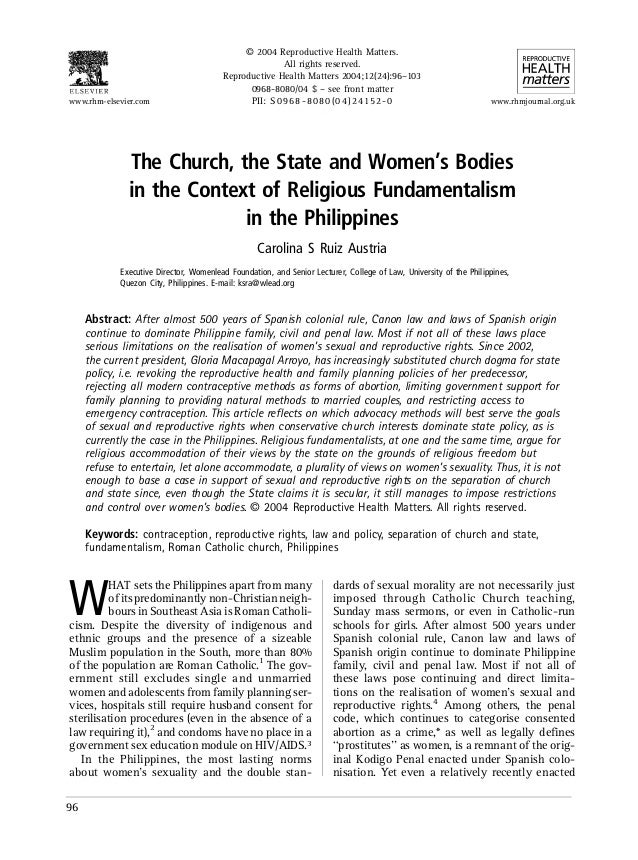 The Church, the State and Women's Bodies in the Context of Religious Fundamentalism in the Philippines Carolina S Ruiz Aus...