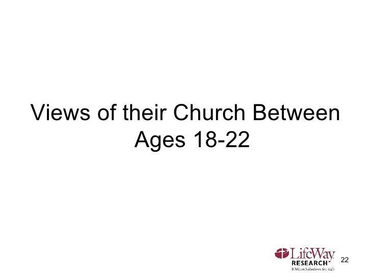 <ul><li>Views of their Church Between Ages 18-22 </li></ul>