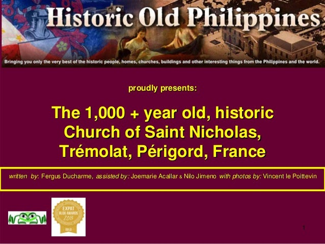 1 proudly presents:proudly presents: The 1,000 + year old, historicThe 1,000 + year old, historic Church of Saint Nicholas...