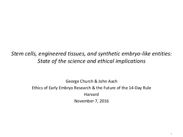 Stem cells, engineered tissues, and synthetic embryo-like entities: State of the science and ethical implications George C...