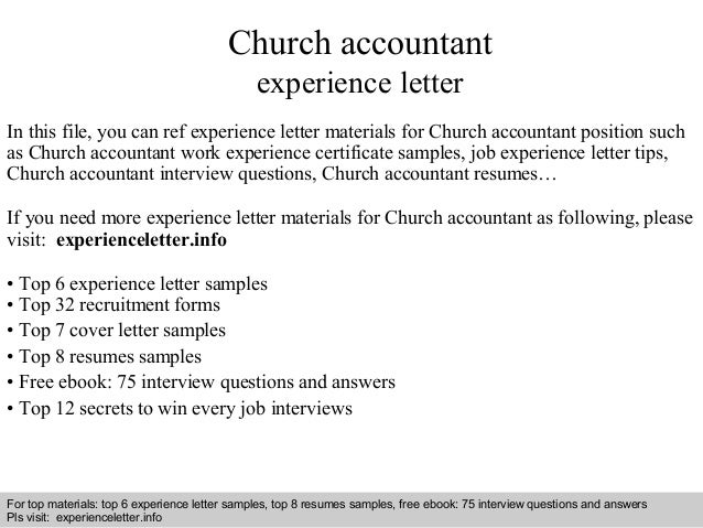 Church Accountant Experience Letter In This File, You Can Ref Experience  Letter Materials For Church ...