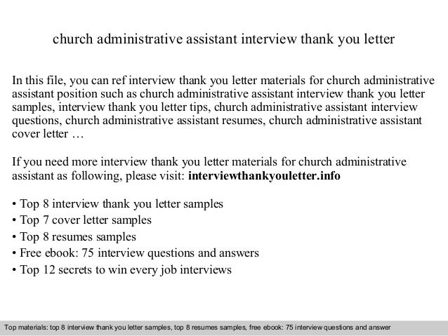 Captivating Church Administrative Assistant Interview Thank You Letter In This File,  You Can Ref Interview Thank ...