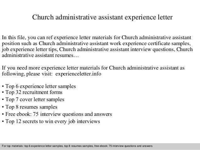 Church Administrative Assistant Experience Letter In This File, You Can Ref  Experience Letter Materials For Experience Letter Sample ...  Administrative Assistant Objective Samples