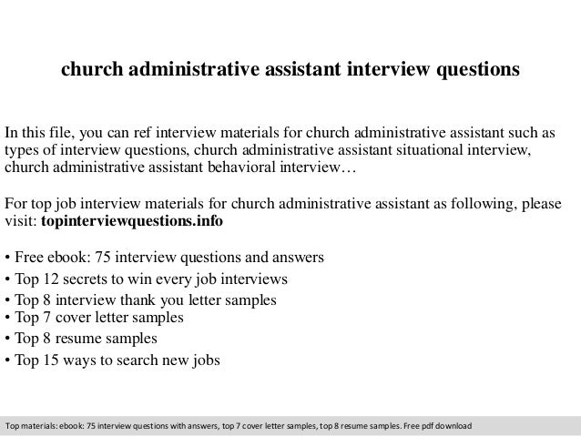 church administrative assistant interview questions in this file you can ref interview materials for church - Church Administrator Salary