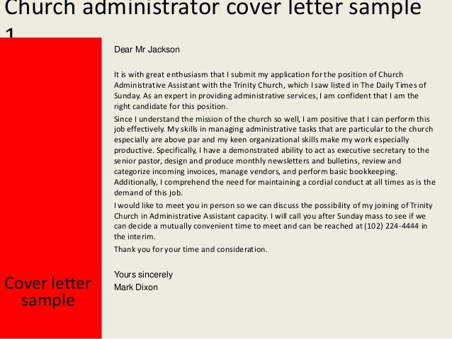 Church Administrator Cover Letter Sample ...