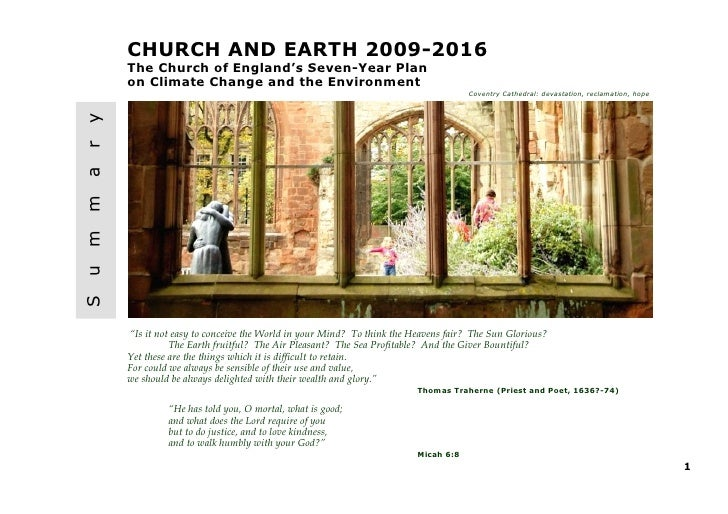 CHURCH AND EARTH 2009-2016    The Church of England's Seven-Year Plan    on Climate Change and the EnvironmentyrammuS     ...