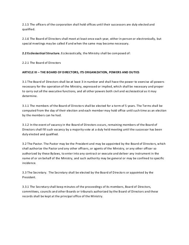 Church by laws sample – Church Bylaws Template