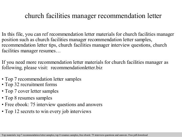 Church facilities manager recommendation letter church facilities manager recommendation letter in this file you can ref recommendation letter materials for recommendation letter sample altavistaventures