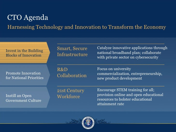 CTO Agenda Smart, Secure  Infrastructure Harnessing Technology and Innovation to Transform the Economy Invest in the Build...