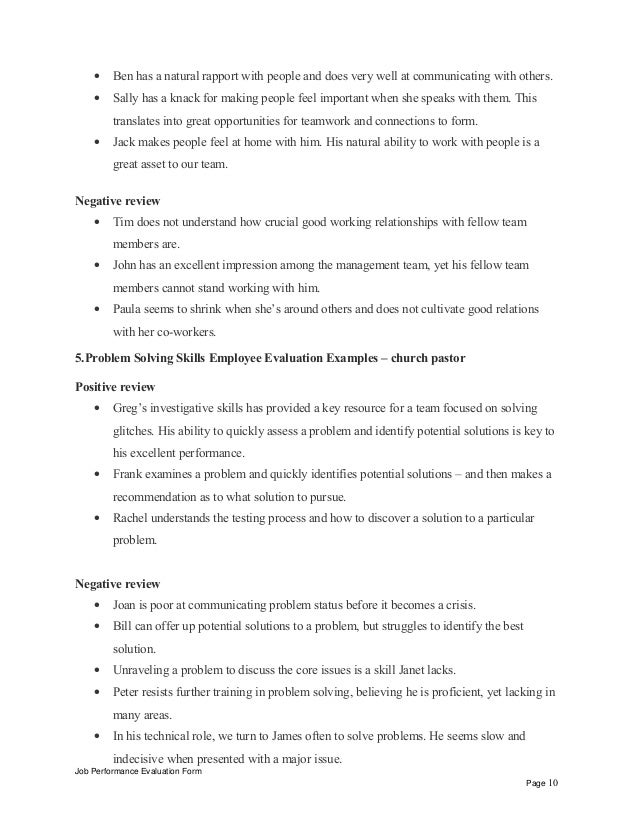 Interpersonal Skills Performance Review Phrases U2013 Church Pastor Positive  Review Job Performance Evaluation Form Page 9; 10.