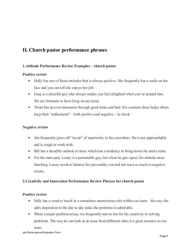 Church Pastor Performance Appraisal