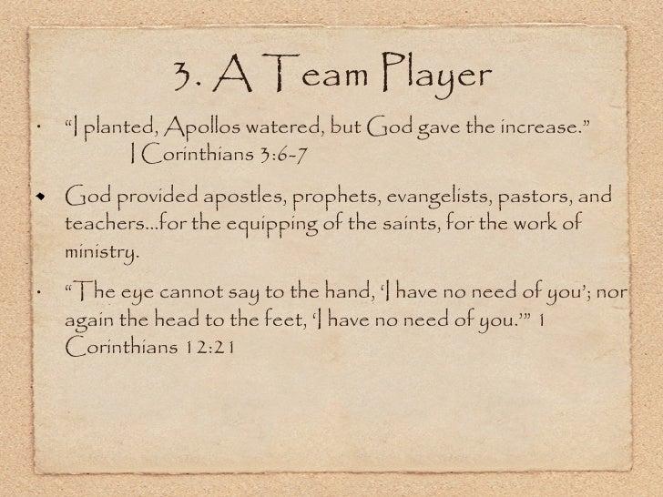 "<ul><li>"" I planted, Apollos watered, but God gave the increase.""  I Corinthians 3:6-7  </li></ul><ul><li>God provided apo..."