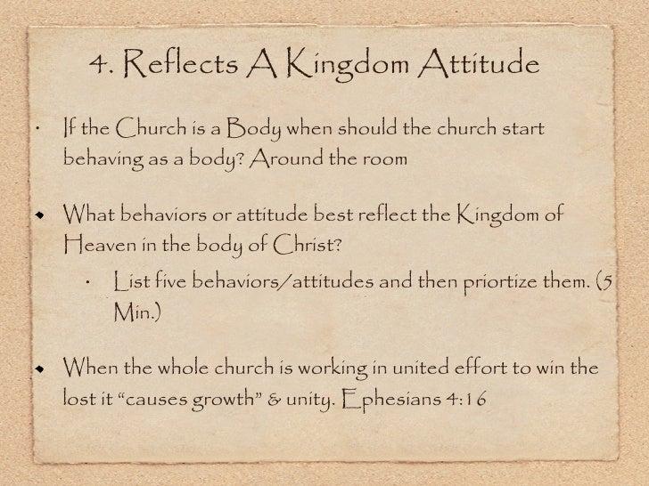 <ul><li>If the Church is a Body when should the church start behaving as a body? Around the room  </li></ul><ul><li>What b...